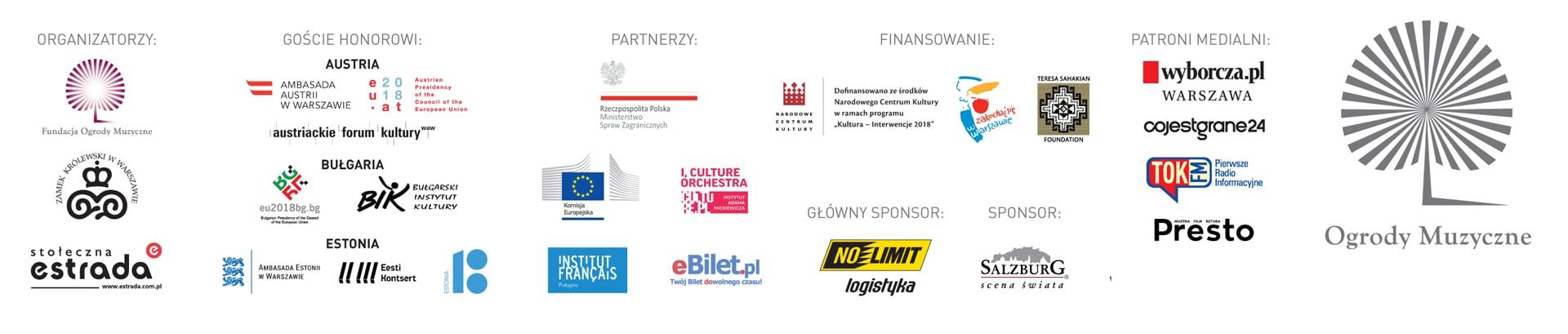 Partnerzy i sponsorzy Festiwalu Ogrody Muzyczne